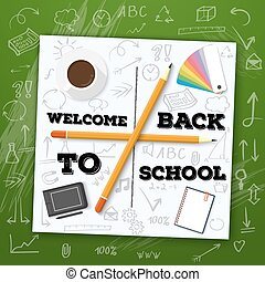 Welcome Back to School Vector Illustration. Include Handdrawn ic