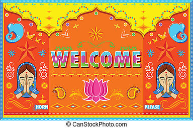 Welcome Background in Indian Truck paint style -...
