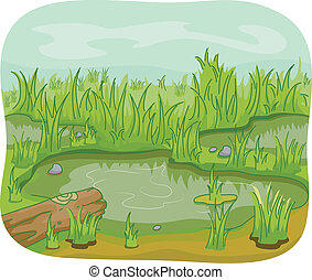 Illustration of Wetlands with a Log and Leaves Lying Around
