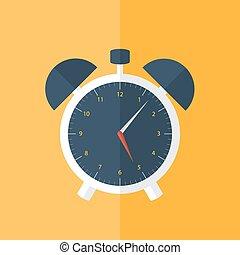 White alarm clock icon over orange
