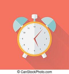 White and yellow alarm clock flat icon