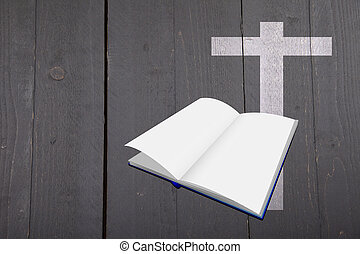 Illustration of white bible and cross on dark black wooden background