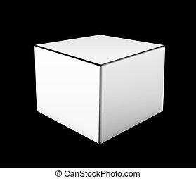 Illustration of white box on black background