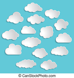 illustration of white clouds collection on the blue...