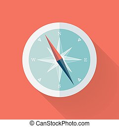 White Compass flat icon over red