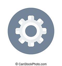 White gear wheel icon over blue