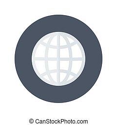 White globe icon over blue