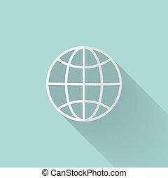 White globe icon over mint