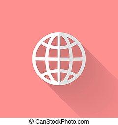 White globe icon over pink