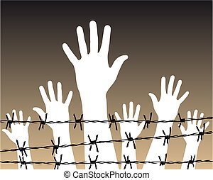 Illustration of white hands behind a barbed wire prison. Vector file available.