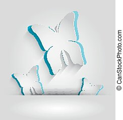 White paper butterfly with sky blue