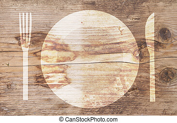 Illustration of white plate on brown wooden background
