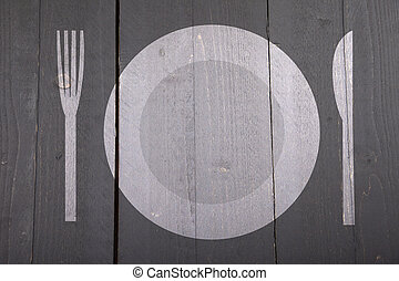 Illustration of white plate with fork and knife on dark black wooden background