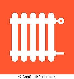 white radiator icon on orange background