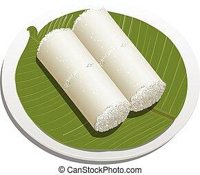 Vector illustration of White rice puttu