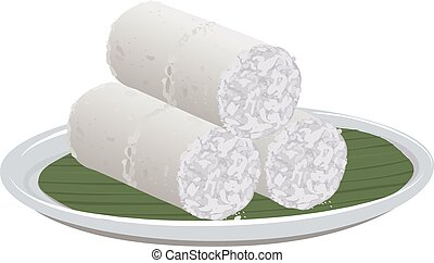 Vector illustration of White rice puttu -Kerala special breakfast items made using rice flour which is very healthy and arranged in traditional way,isolated.