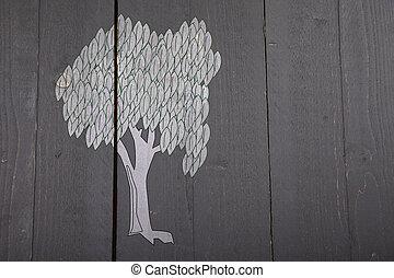 Illustration of white tree on dark black wooden background
