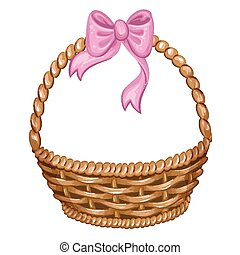 Illustration of wicker basket with pink ribbon