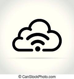wifi cloud icon on white background