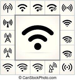 wifi icons set on white background