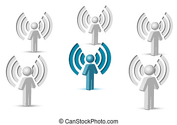 wifi symbol with people - illustration of wifi symbol with...