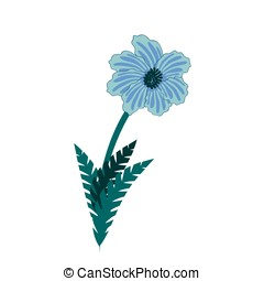 Illustration of wild blue flowers bouquet