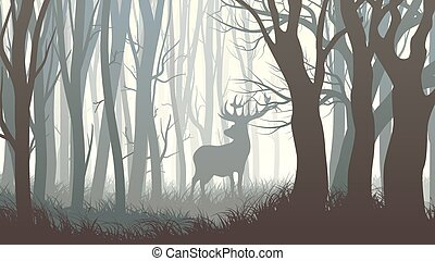 Illustration of wild elk in wood. - Vector horizontal...