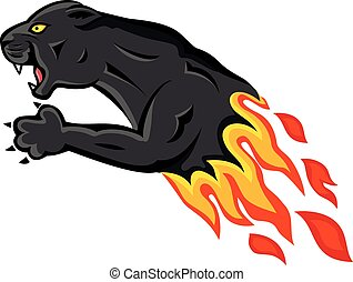 Wild panther attacking