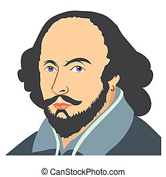 Illustration of William Shakespeare on a white background