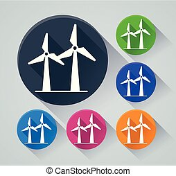 wind turbine icons with shadow