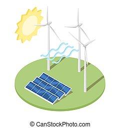 Illustration of windmill and solar panels.