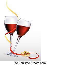 illustration of wine with engagement rings on white background