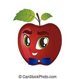 illustration of winking apple smiley on a white background