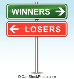 winners and losers directional sign - illustration of...