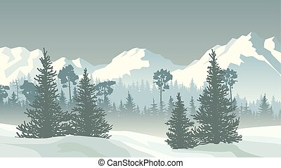 Illustration of winter coniferous forest with mountains. -...