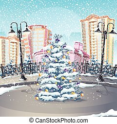 Illustration of winter with a Christmas tree