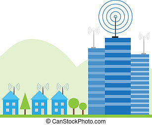 Illustration of wireless signal of internet into houses