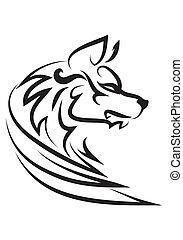 illustration of wise dog tattoo over isolated white...