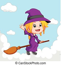 witch riding on a broom