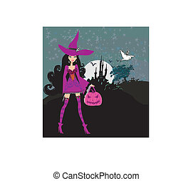 illustration of witch with Halloween pumpkin