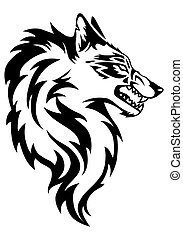 illustration of wolf face black and white tattoo over...