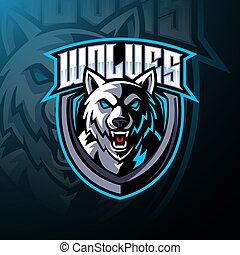Wolf head mascot logo design