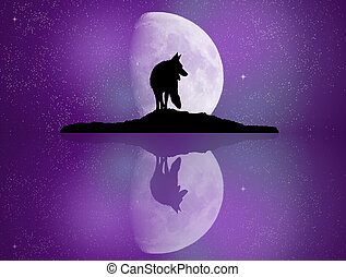 wolf reflected in the moonlight