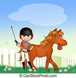 woman and brown horse - illustration of woman and brown...
