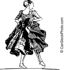 Illustration of woman dancing marinera. Peruvian dancing.