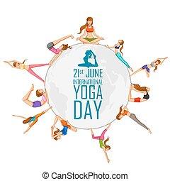 International Yoga Day - illustration of woman doing Yoga...