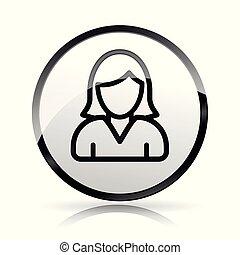 woman head icon on white background
