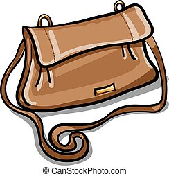 brown leather bag - illustration of woman personal modern...