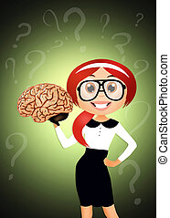 woman with brain
