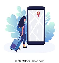 illustration of woman with luggage on the background of the navigator. Colorful flat vector illustration.